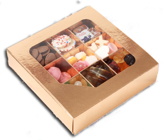 Nine square gold box filled with your favourite sweets