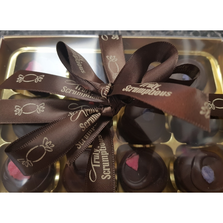 Hand-Made Hand Decorated Dark Chocolate Rose and Violet Creams
