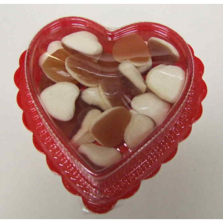 Heart throbs in a heart shaped container