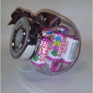 Love Hearts in a plastic Jar